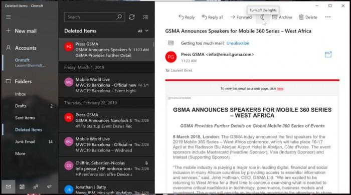 Windows 10 Mail正式支持Dark主题的图片 第9张