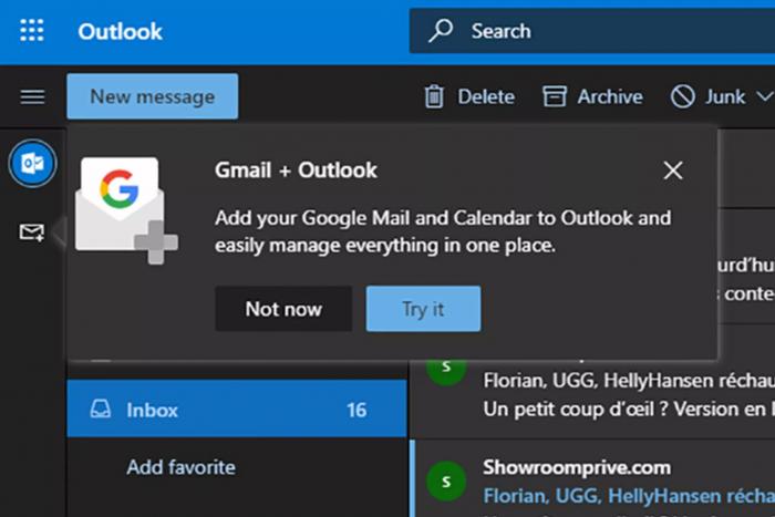 Outlook网页版集成Google云硬盘和日历