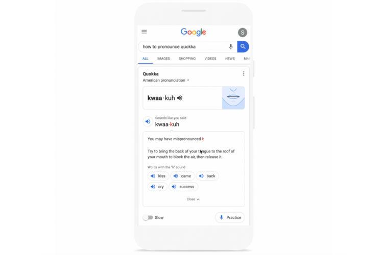 谷歌推单词发音练习功能的图片 第1张