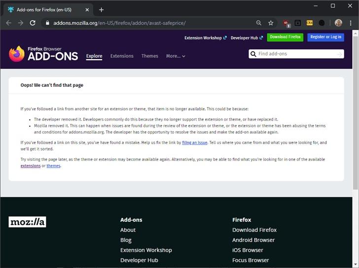 火狐扩展商店移除了Avast