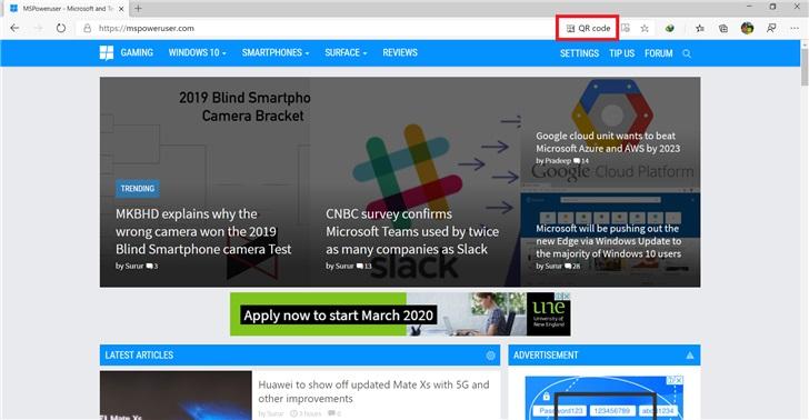Edge浏览器已支持二维码分享网页
