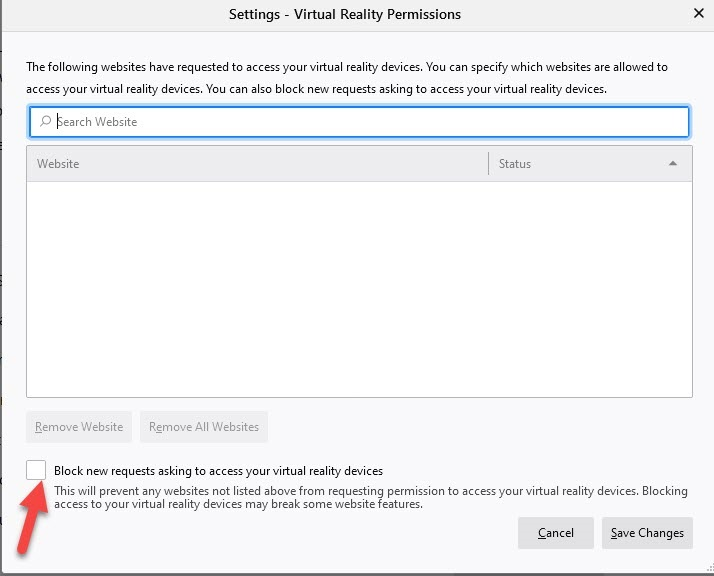 Firefox 73可禁用来自网站的VR设备访问通知