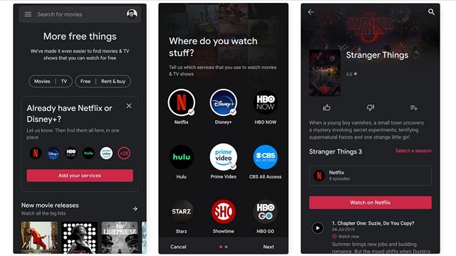 Google Play电影集成Netflix和Disney +