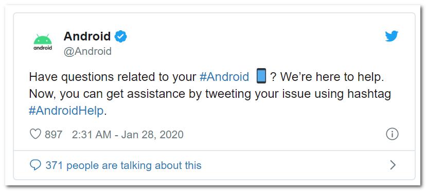 Android官方在推特上提供在线解答服务
