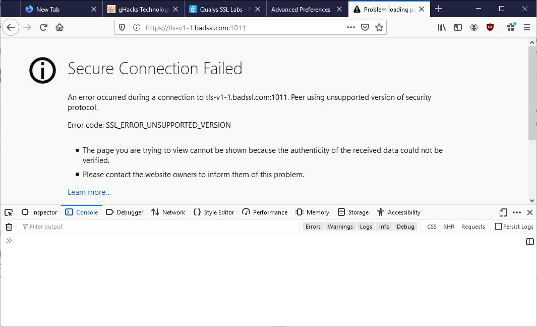 火狐等浏览器将不支持加密协议TLS 1.1及更旧版本的图片 第3张