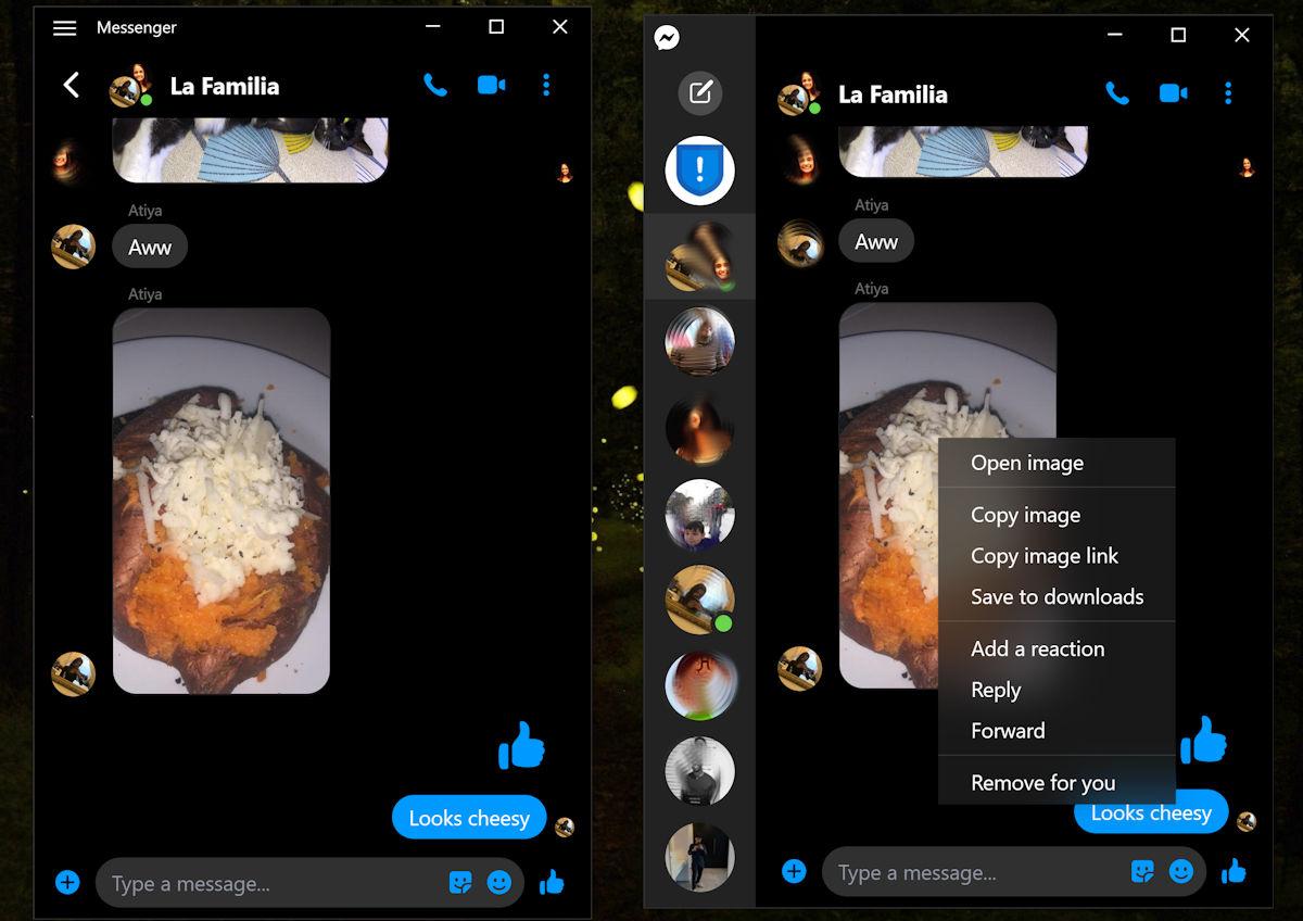 Win 10版Facebook Messenger/beta更新:Fluent Design菜单和其他改进