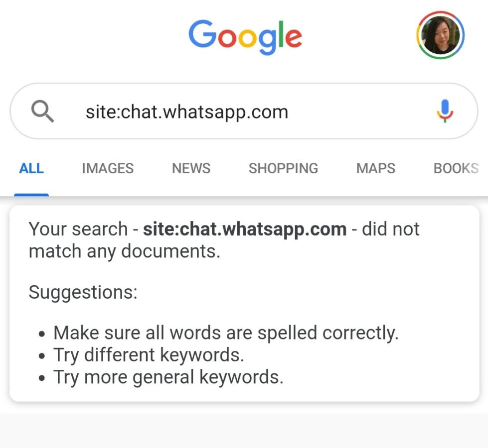 WhatsApp聊天邀请被谷歌索引后续:搜索结果已被删除