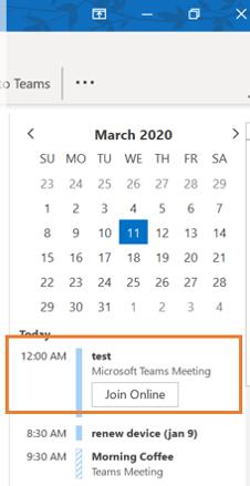 """日历待办任务栏显示""""加入联机""""按钮。"""