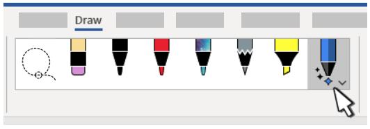 该图显示了Word中可用的钢笔,铅笔,荧光笔。