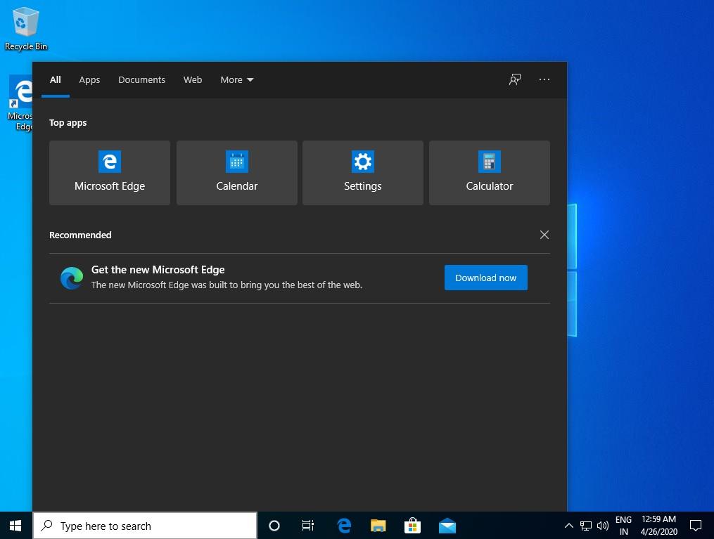 微软现在在Windows Search 1中推动Edge
