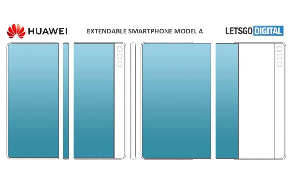 华为新专利展示了两款带有滑动显示屏的智能手机