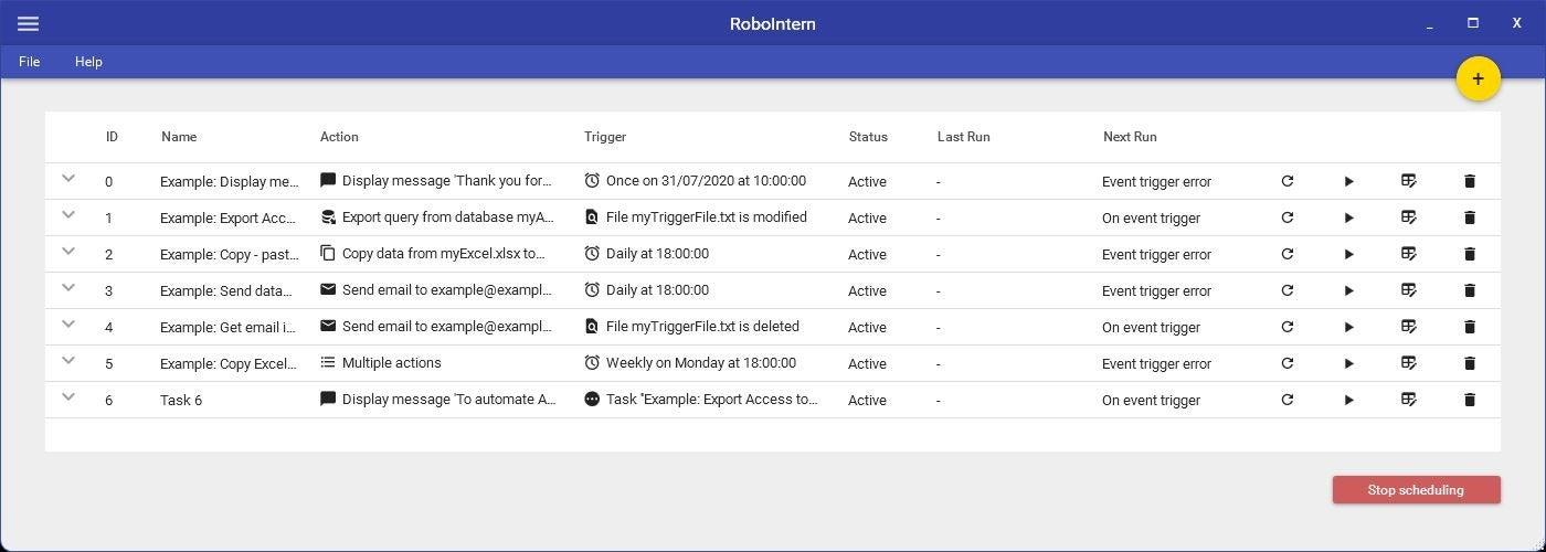 RoboIntern是一个免费程序,可用于创建任务并使它们自动化