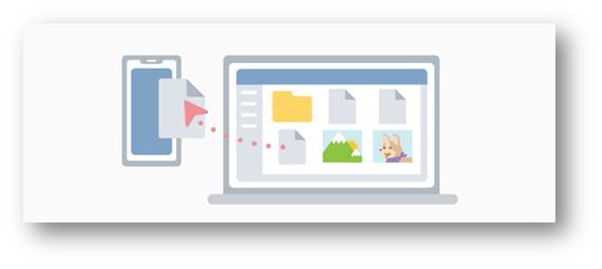 该图突出显示了PC和手机之间的文件传输。
