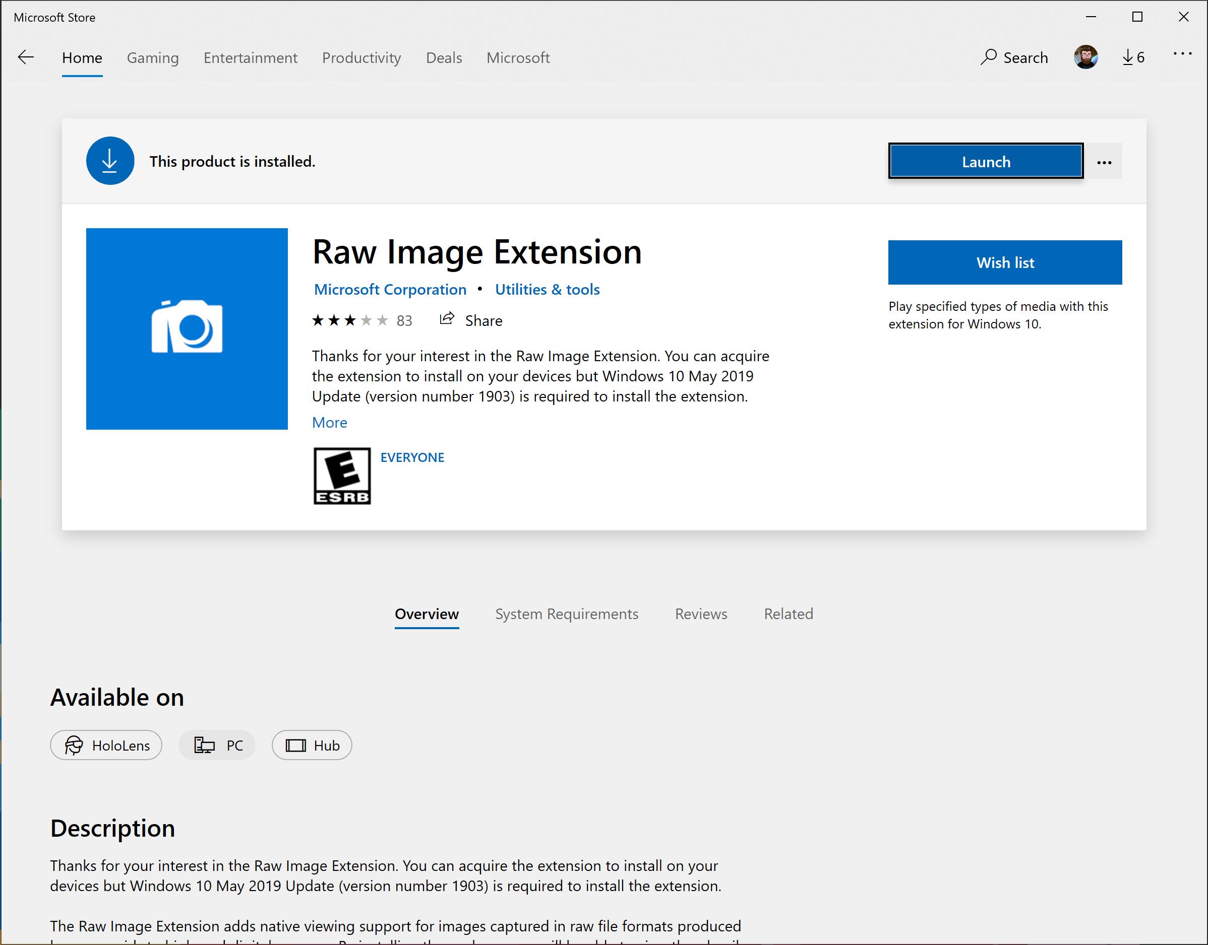 Microsoft Store中新的Raw Image Extension程序包。