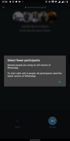 WhatsApp群组通话人数提升至8人,正做内测