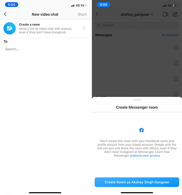 Instagram 可以视频开会了:已集成脸书Messenger Rooms