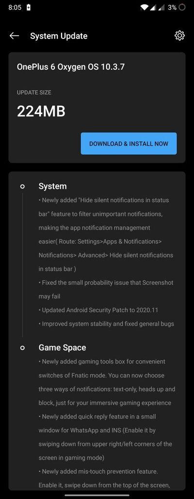 一加6/6T推送OxygenOS 10.3.7:11月安全补丁等