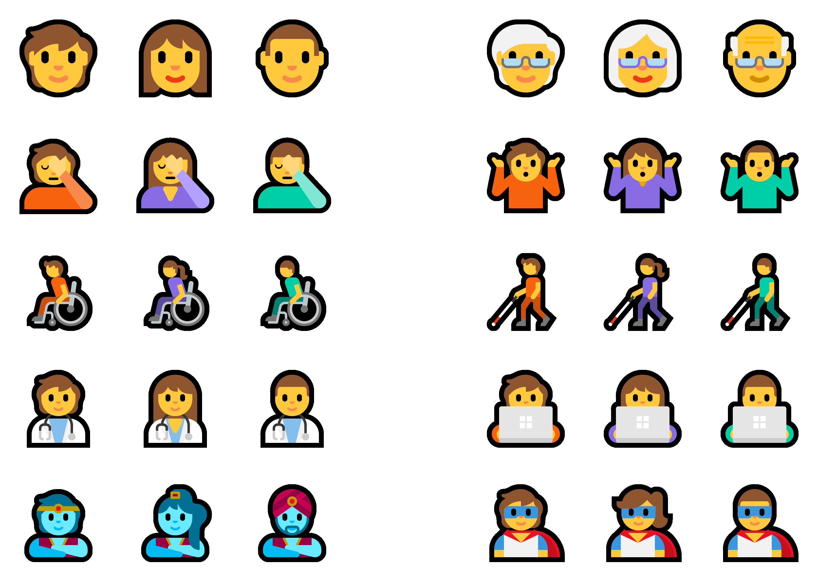 显示各种表情符号(精灵,超级英雄,耸耸肩等)的3个版本(男性,女性和不分性别)。