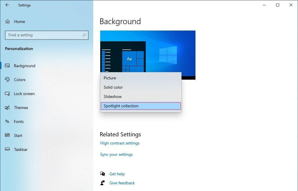 Windows 10聚光灯