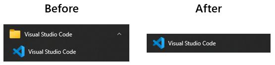 仅在文件夹中显示Visual Studio代码,然后在文件夹中显示(之后)。