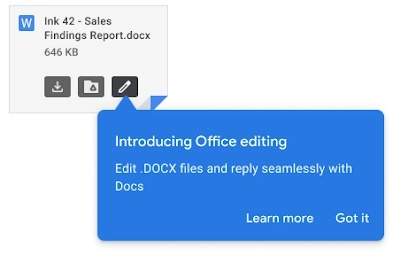 Gmail最新支持直接打开和编辑Office附件