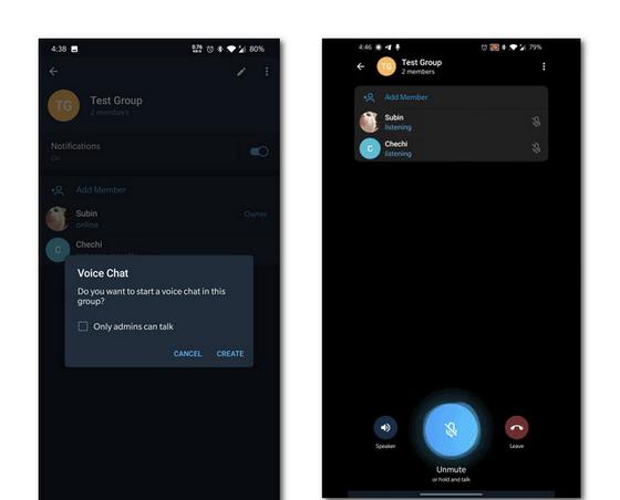 电报Android版推出群组语音通话功能