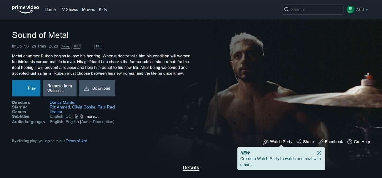 亚马逊Prime Video拓展「观看派对」功能