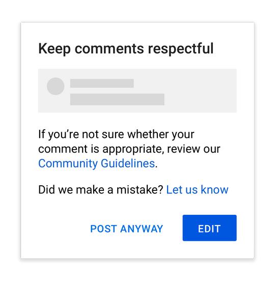 youtube评论警告