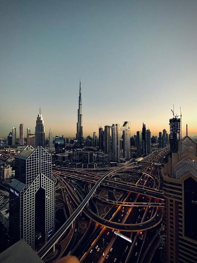 迪拜的天际线景观。