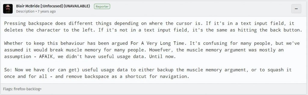 继Chrome之后,Firefox浏览器宣布禁用Backspace键