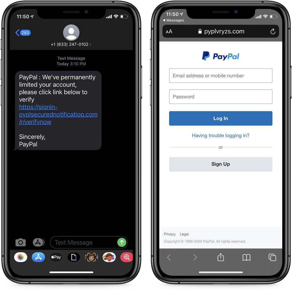 PayPal伪造文字和着陆页