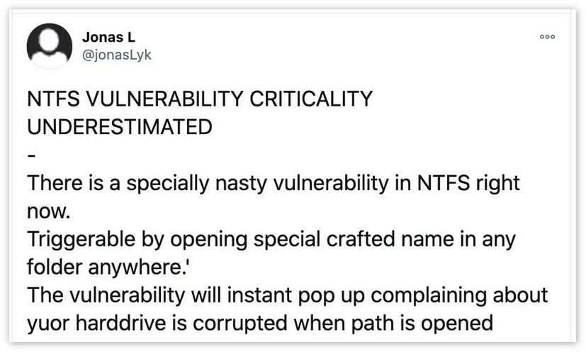 打开ZIP文件即可损坏硬盘:一个陈年的Windows零日漏洞曝光