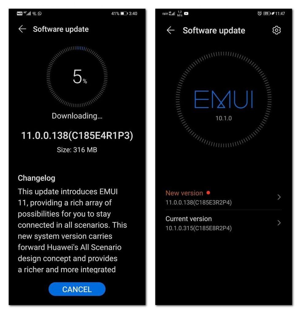 华为向5款旧旗舰手机发布EMUI 11升级