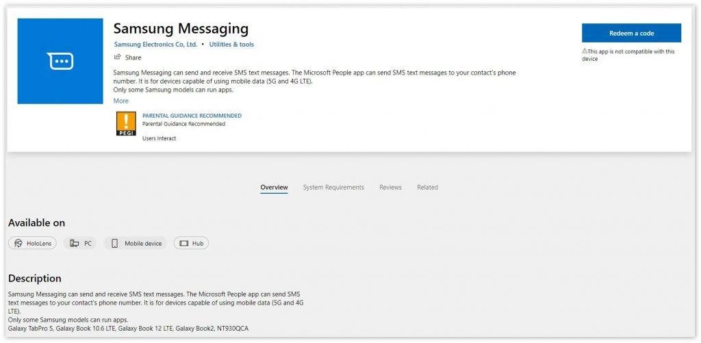 三星向微软商店发布短信应用Samsung Messaging