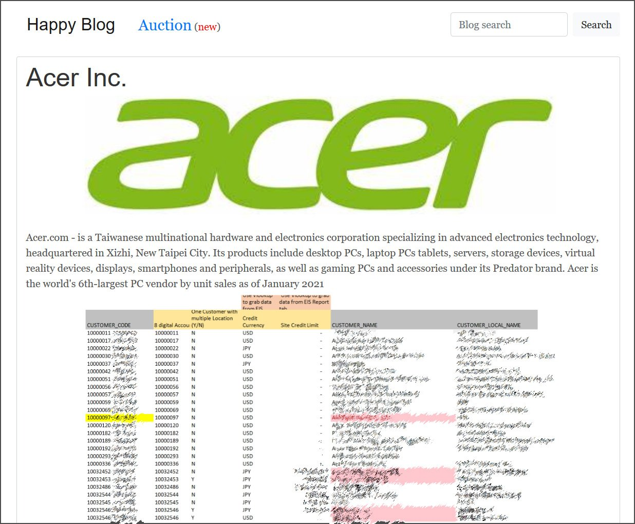 Acer数据在REvil勒索软件网站上泄漏