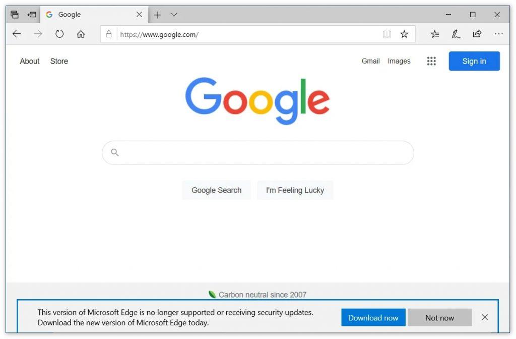 旧版Egde开始通知用户升级到新版本(关闭方法)