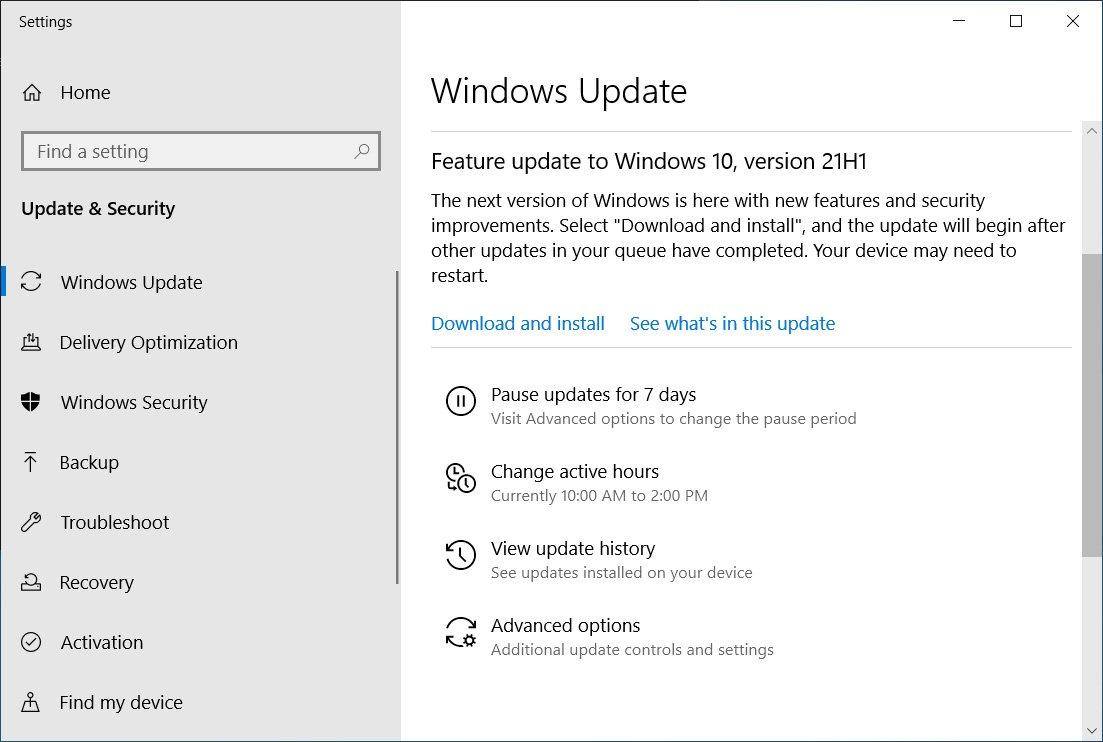Windows 10 21H1提供给搜寻者