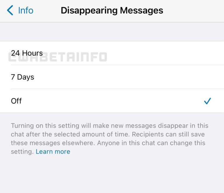 "WhatsApp将支持聊天消息24小时""自毁""功能"