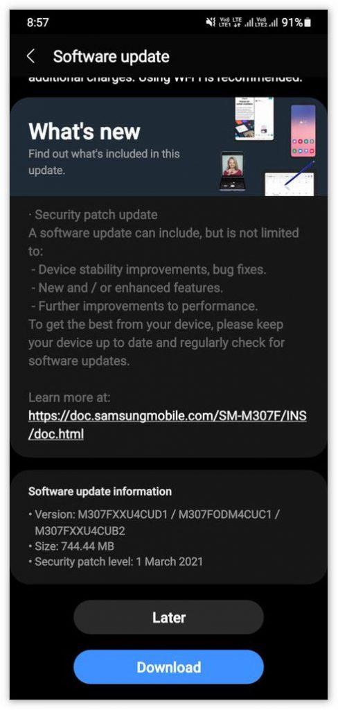 三星Galaxy A60国行版和Galaxy M30s推送One UI 3.1升级