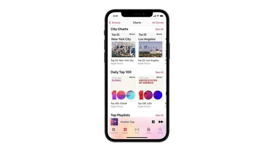 Apple Music新功能:全球城市Top25热播歌曲榜