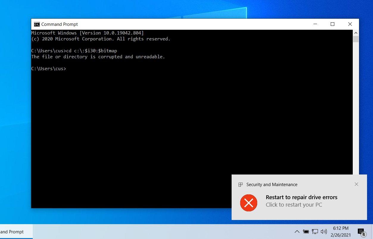 访问NTFS路径会触发损坏警告