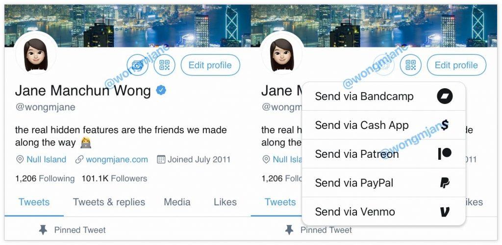 """推特在用户主页测试""""付小费""""功能"""