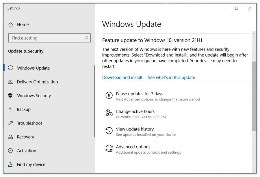 Windows 10 21H1或在未来两周内发布