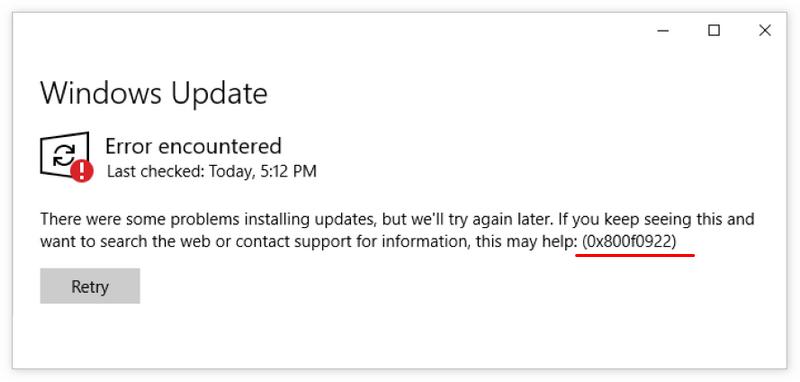 微软KB5003173更新安装出现0x800f0922报错?这是解决办法