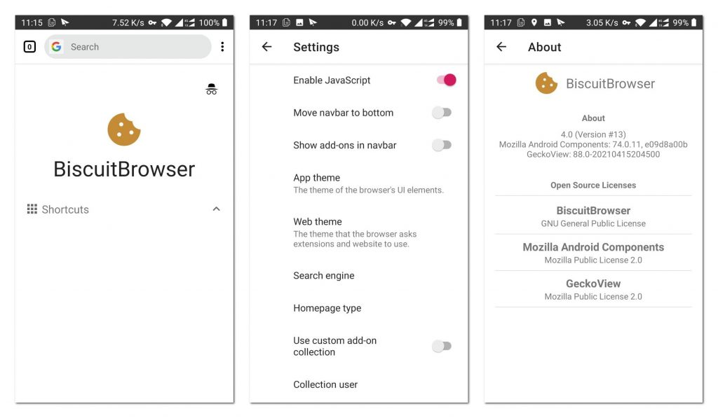 BiscuitBrowser:支持Firefox扩展的新锐Android浏览器
