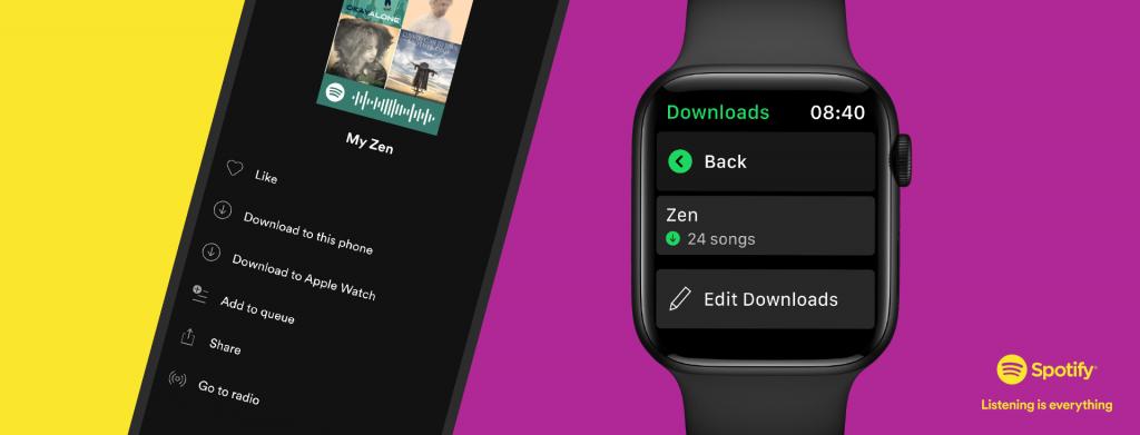 Spotify为Apple Watch用户推出音乐/播客离线播放功能