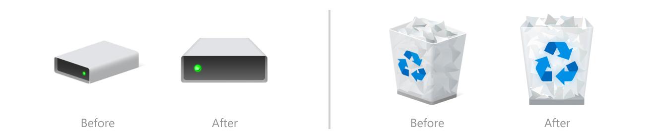 硬盘驱动器和回收站图标之前和之后。