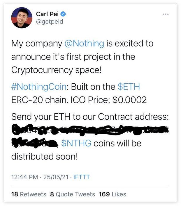 一加原联合创始人裴宇推特账号被黑,被发布虚拟货币诈骗推文
