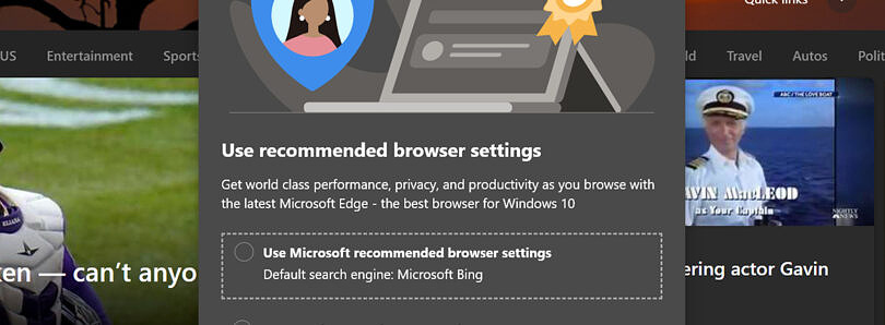 升级到Edge 91后,用户正被引导将Bing设为默认搜索引擎