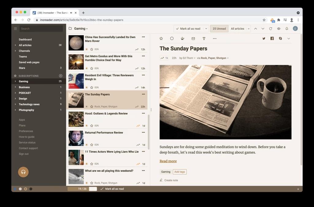 RSS阅读器Inoreader新增深褐色复古主题